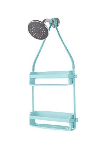 UMBRA Flex Shower Caddy. Caddie de douche Flex. Organiseur de douche à étagères, à suspendre, coloris bleu.