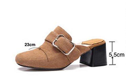Beauqueen Zuecos y mulas de la boda Casual Suede Chunky hebilla media Heel Absorber plantilla de las mujeres transpirables Zapatos perezoso UE tamaño 34-39... light brown