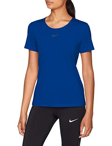 Nike Running Short Sleeve Top (Nike Damen W NP TOP Short Sleeve All Over MESH T-Shirt, Indigo Force/Black, M)