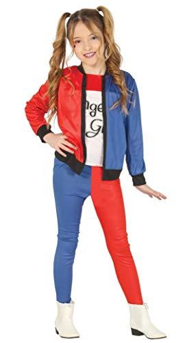 Guirca- the joker costume bambina da harley quinn 10-12 anni, colore blu, rosso,nero e bianco, gu88452