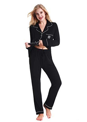 Damen Schlafanzüge Nachtwäsche langen Ärmeln Pyjama by Nora Twips, Farbe Schwarz Gr. L -