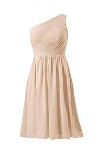 daisyformals courtes vintage robe de demoiselle d'honneur parti une épaule robe (bm10822s) Beige - #50-Champagne