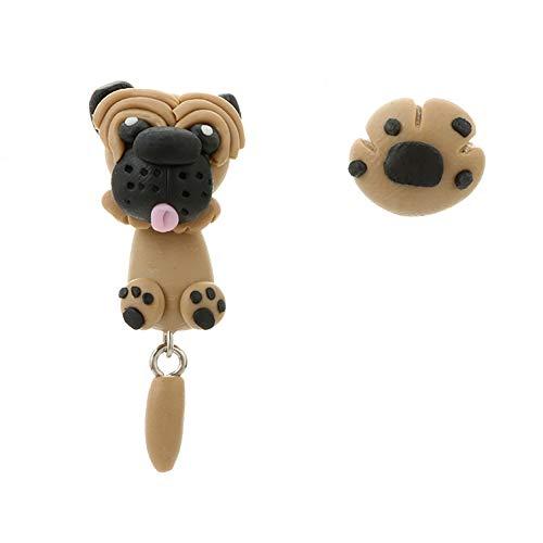 (Cupcinu Ohrringe Anhänger handgemacht weich Tao Shapi Hund niedliche dreidimensionale Tier Puppy weiche Keramik Ohrringe)