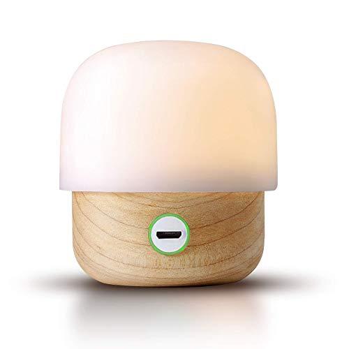 IDMIX Luz de Noche LED, Madera Natural PC Luz Nocturna para Niños, Lámpara de Cabecera Lectura y Amamantamiento, Recargable Portátil, Giratoria Luminosidad Ajustable para Proteger Los Ojos