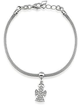LUXIORO Damen Armband mit Engel-Charm rhodiniert in 925 Sterling Silber 18+2cm 22 weiße Zirkone 100064