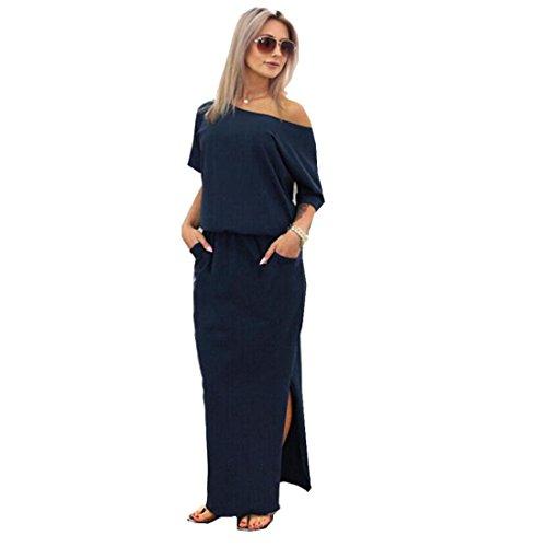 Tongshi Vestido de las mujeres del partido de tarde de verano maxi largo de con Pocket (EU 38 (Asia L), azul marino)