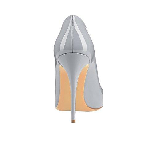 MERUMOTE Damen Gradient Stiletto Spitze Lackleder 10cm High Heel Hochzeit Pumps Schuhe Grau-Lack