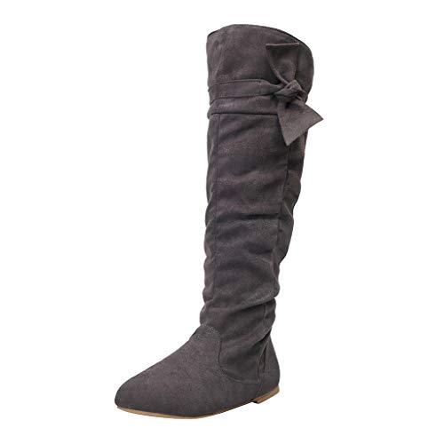 Strungten Damen Bow High-Heel Stiefel Boots rutschfest Winterstiefel Elegant Beiläufig Flache Schuhe Knie Stiefel Slouchy Schneestiefel Süß Lange Stiefel High Heels Stiefeletten Mit Reißverschluss