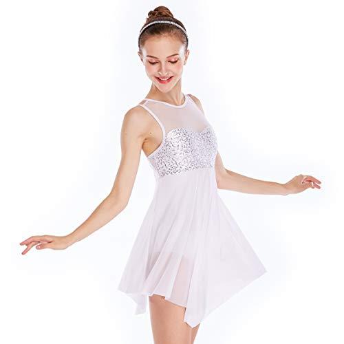 Tanz Illusion Kostüm - MiDee Illusion Süße Pailletten Tank Top Cut Rock Lyrischen Kleid Tanzen Kostüm (MC, Weiß)