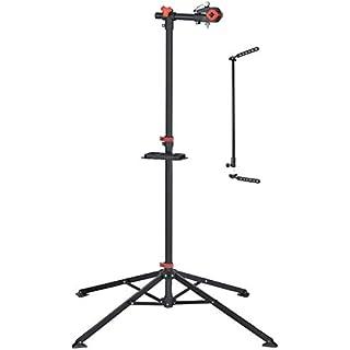 P4B Montageständer Reparaturständer E-Bike und Fahrräder bis 30 kg, Fahrradmontageständer klappbar und höhenverstellbar, mit magnetischer Werkzeugablage Montage, schwarz/rot, Höhe = ca. 1.080-1.880 mm
