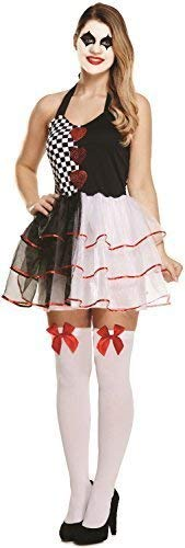Fancy me donna evil giullare arlecchino pagliaccio del circo halloween costume vestito 8-12