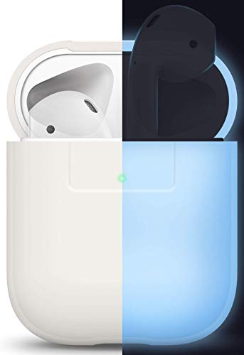 elago Silikonhülle Kompatibel mit Apple AirPods 1 & 2 (LED an der Frontseite Sichtbar) - [Unterstützt kabelloses Laden] [Stoßfeste Schutzhülle] [Perfekt Passt Hülle] - Nachtglühen Blau