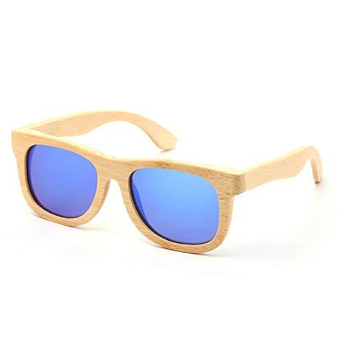 MOMIN Polarisierte Sonnenbrille Herren- und Damen-Sonnenbrille mit Bambusrahmen UV400 HH-45 (Blue)