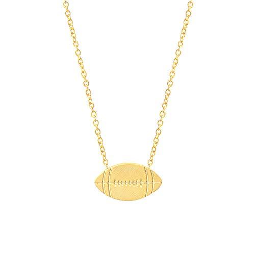 Wikimiu Kette Herren Damen, Halskette mit Rugby Anhänger, Unisex Personalisierter Modeschmuck für Geburtstag Valentinstag (Gold)
