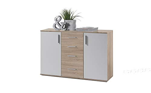 AVANTI TRENDSTORE - Bea - Cassettiera con 2 ante e 4 cassetti in laminato di quercia Sonoma e colore bianco, dimensioni LAP 120x82x35 cm