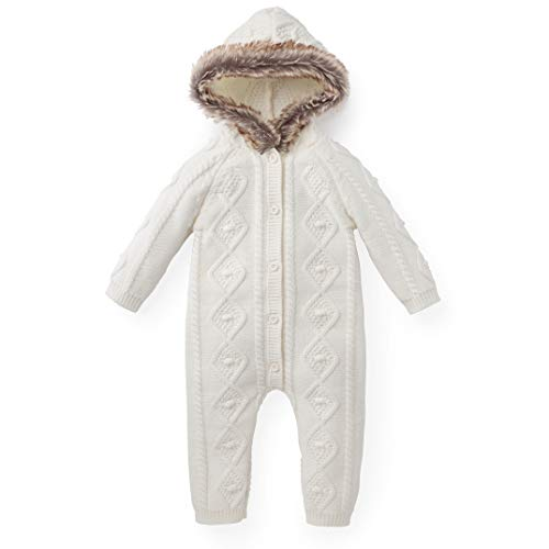 3139571ae Hope & Henry Layette Faux Fur Trimmed Ivory Cable One Piece Made with  Organic Cotton