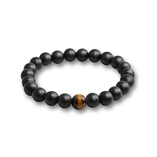 Maßgeschneiderte Rock Anzug (Awertaweyt Armband aus Glasperlen, Black Lava Natural Stone Beads Bracelets for Women Vintage Design Volcanic Rock Tiger Eye Bead Strand Bracelet Men Jewelry Gifts 09)