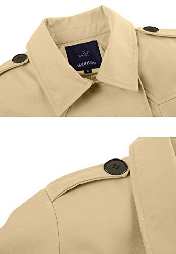 Wantdo – Klassischer Zweireiher Damen Trenchcoat in Khaki mit Gürtel - 3