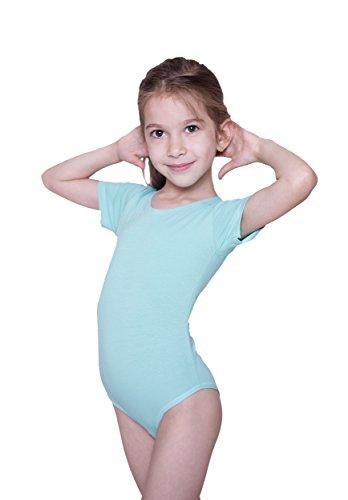 Evoni Kinder Kurzarm-Body mit Rundhals-Ausschnitt in Grün mit Druckknöpfen im Schritt | Gr.104 | angenehme Kinderwäsche aus Baumwolle | pflegeleicht & komfortabel | Turnbody Gymnastikanzug