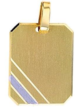 Goldanhänger Gravurplatte Platte inkl. kostenlose Gravur in 585 Gold 14 Karat Kettenanhänger Gelbgold Schmuck...