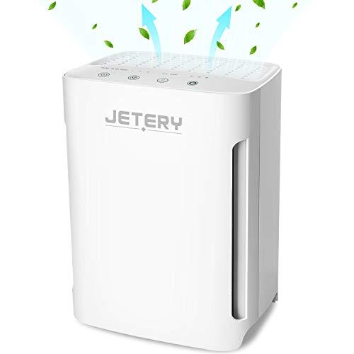 Purificador de Aire con Filtro HEPA Compacto, JETERY Depurador Aire para alergias polen olores con filtración de luz UVC, para Hogar Casas Oficinas Mascotas, Fumadores Cocina. CADR 100+m3/h, JT-8006