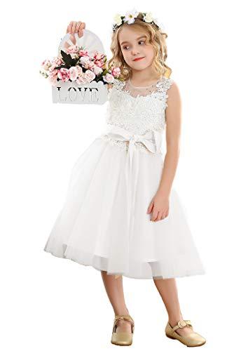 Bow Dream Lace Vintage Flower Girl's Dress Tulle Sleeveless White 2T
