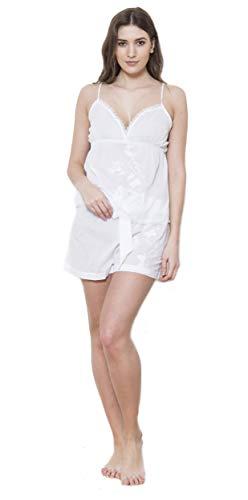 Echte Baumwolle 100% Cotton Deluxe Batist Blumenmuster Bestickt Träger Hemdchen Pj-Satz - Weiß, Large UK 14/16 - Bestickte Baumwolle Batist