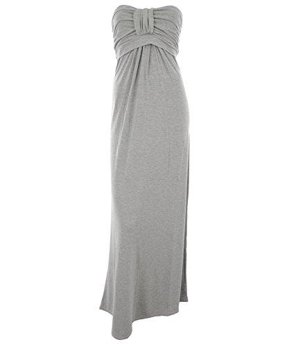 Kira Frauen Plain Farbige Boobtube Bandeaukleider Jersey Gesammelt Knot Schleife Büste Gummizug im Rücken Damen Maxi Kleid Grau