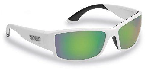 Flying Fisherman 7717WAG Sunglasses Razor Matte White Green Mirror