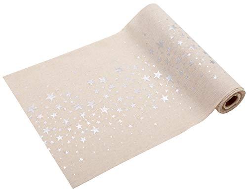 100% Mosel Tischläufer Sterne Silber, 5 m x 28 cm, Naturoptik | Tischband | Tischdeko Weihnachten +...