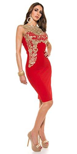 Sexy Damen Cocktail Party Penicilkleid Kleid Spitze Stickerei 36 38 40 S M L Rot