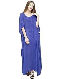 SKAVIJ Women's Tunic Embroidered Dress Long Caftan Maxi Nightgown (Free Size)
