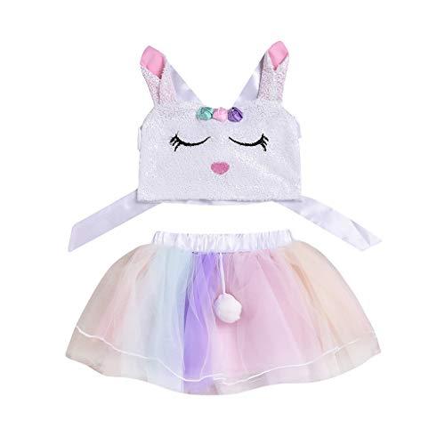 SUMTTER 2 PC Kostüm Mädchen Osterhase Kostüm Kinder Hasenkostüm Baby Tütü Röcke + Oberteile für Easter Fasching