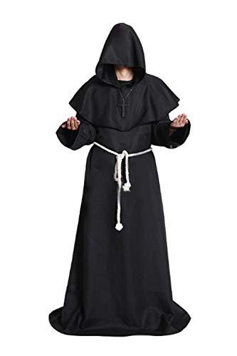 Zamtapary Herren Assistent Priester Roben Hoodies Cosplay Mitte Alter Halloween Kostüme Schwarz XL
