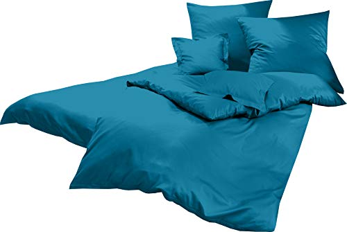 Lorena Uni Classic Bettwäsche Mako Satin Baumwolle einfarbig (Ocean, 135 cm x 200 cm inkl. 80x80cm Kissen)