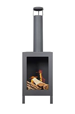 La Hacienda Kuro–Black–Height 116cm–Garden Oven Chiminea Chimenea Chiminea Patio Fireplace Fire Pit