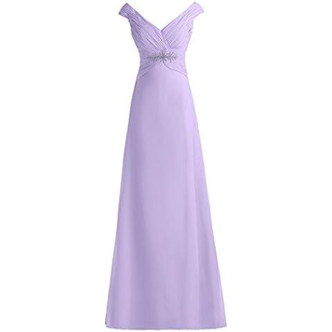 Donne Toscana sposa elegante V-scollatura lungo abiti da sera in