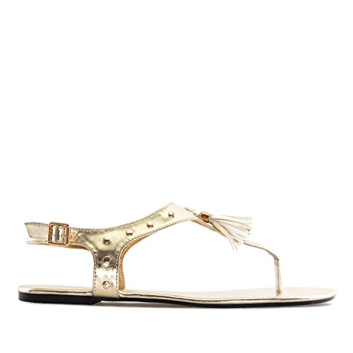 Andres Machado - AM5161 - T-Bar-Sandalen aus Soft Schwarz AM5161 Gold