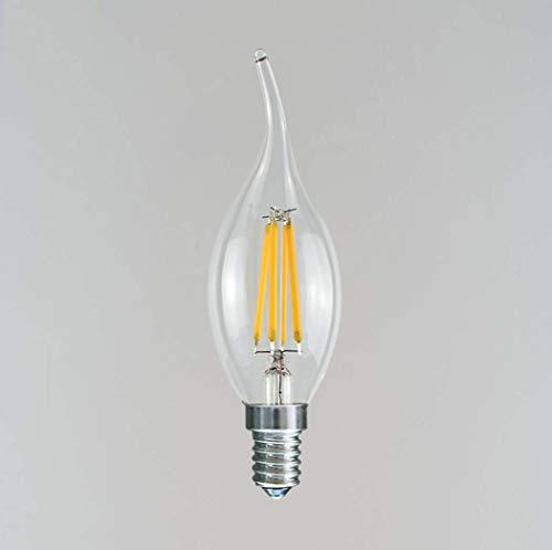 Yjmgrowing E12 / E14 LED Kandelaber Birne 3 Watt LED Kronleuchter Glühbirnen Flamme Spitze Vintage LED Filament Kerze Birne, 1 Packung (35 * 118mm),6500Kcoolwhite,E12 -