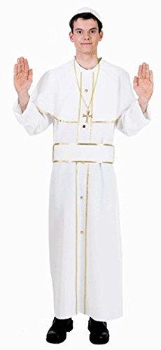 Kostüm: Papst-Gewand mit Mütze, weiß, Erwachsenen-Größe:54/56