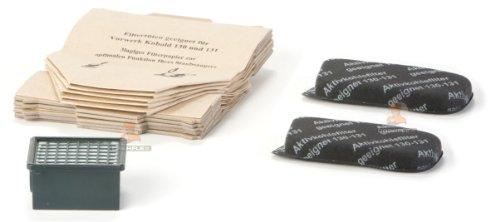 DREHFLEX® - Vorwerk alternativ - 13tlg. SET 10 Saugertüten / Staubsaugerbeutel Papier 2 Aktivkohlefilter (Motorfilter) 1 Hepafilter für Kobold VK 130/131 DREHFLEX®