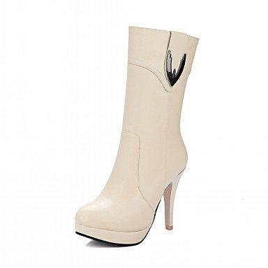 Rtry Femmes Chaussures Pu Leatherette Automne Hiver Confort Nouveauté Mode Bottes Bottes Talon Stiletto Bout Rond Bottes Mid-calf Zipper Pour Party & Amp; Us6 / Eu36 / Uk4 / Cn36