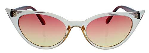 50er Jahre Damen Sonnenbrille oder Vintage Brillengestell mit Klarglas Cat Eye Form Katzenaugen Modell FARBWAHL 73 (Amber/Cognac)