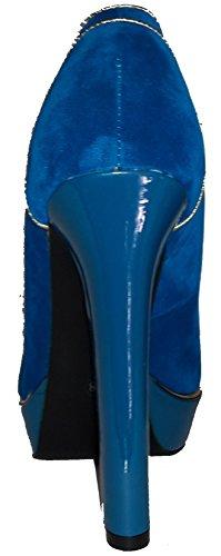 Talons hauts, Stiletto Pumps High Heels Peep Toe, rouge, bleu, noir, marron, beige ou rouge avec des rivets, très sexy, modèle 11064102001805, escarpins, modèles et tailles différents. Bleu.