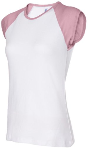 bella Ladies 1x1 Rib Cap Sleeve Raglan T-Shirt L,White/Pink (Rib Cap Womens Pink)