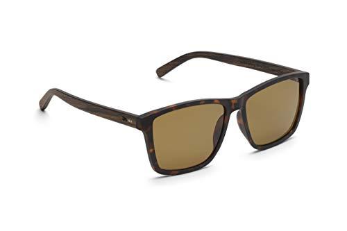 TAKE A SHOT - Große eckige Holz-Sonnenbrille Herren, Holz-Bügeln und Kunststoff-Rahmen, UV400 Schutz, rückentspiegelte Gläser (Braune Wayfarer Sonnenbrille)