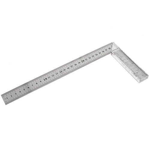 Sourcingmap - 30cm 12 pulgadas de 90 grados en forma de l regla cuadrada tono herramienta de plata