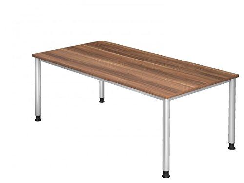 Schreibtisch DR-Büro 200 x 100 cm - Bürotisch höheneinstellbar, Gestell silber, inkl Kabelwanne - 7 Farben zur Auswahl, Farbe Büromöbel:Zwetschge