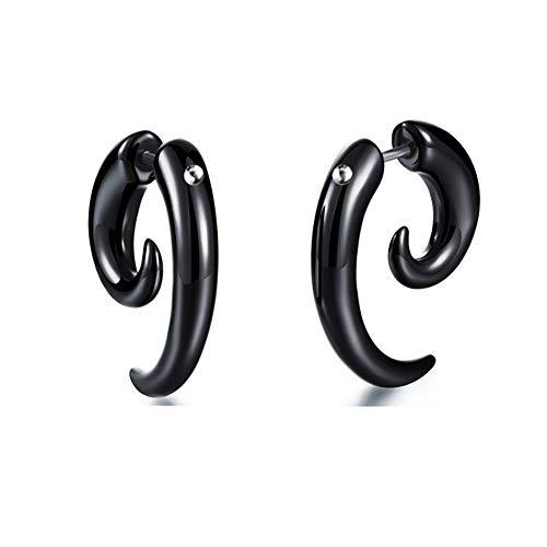 Ohrstecker Halloween Ohrringe lustige Kegelzapfen Fake Plugs Ohrring-schwarze Horn Bolzen-Ohrringe arbeiten Schwarz-Ohrringe Punkunisexohrring 1 Paar