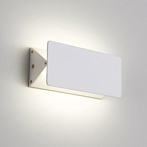 Amzdeal applique lampada da parete 6w con 10 led, 450lm 6000k-6500k, angolo di illuminazione regolabile bianco freddo